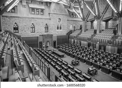 OTTAWA, CANADA - SEPTEMBER 22, 2019: A black and white photo of the new House of Commons in the Parliament of Canada combining historic and modern architecture.