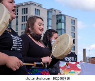 Ottawa, Canada.  September 23, 2020.  Local First Nations groups sing ceremonial songs and hold space to bring to protest injustice from the Canadian government and the policy force
