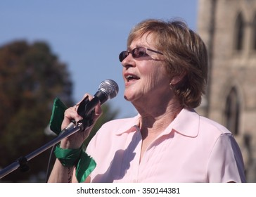 OTTAWA, CANADA - SEPTEMBER 26, 2011: Maude Barlow, Canadian author and political activist, speaks at a protest against environmental impacts of oil sands development.
