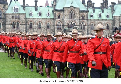 OTTAWA, CANADA SEPTEMBER 28, 2003: Members of the Royal Canadian Mounted Police march on Parliament Hill.
