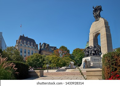OTTAWA, CANADA - SEPTEMBER 9, 2018: The National War Memorial stands under a clear, deep blue sky in Confederation Square in Ottawa, Canada