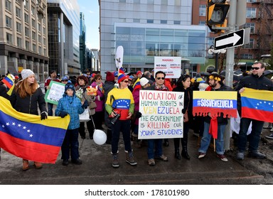 OTTAWA - FEB 22:  Venezuelans gather in front of Parliament Hill to bring attention to the plight of their countrymen who are protesting against the Venezuelan Government Feb 22, 2014 Ottawa, Canada.