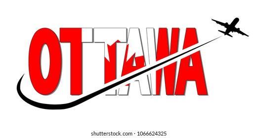 Ottawa flag text with plane silhouette and swoosh illustration
