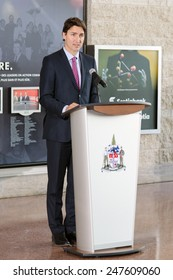 OTTAWA - JANUARY 27:  Liberal party leader Justin Trudeau speaks at a ceremony commemorating the 70th anniversary of the liberation of Auschwitz, at city hall in Ottawa on 27 January 2015.
