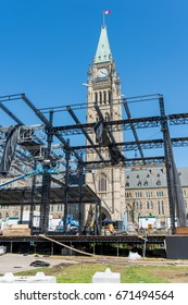 OTTAWA - JULY 4, 2017: Giant make-shift stage is being dismantled on Parliament Hill after the big party Saturday to celebrate Canada's 150th birthday.