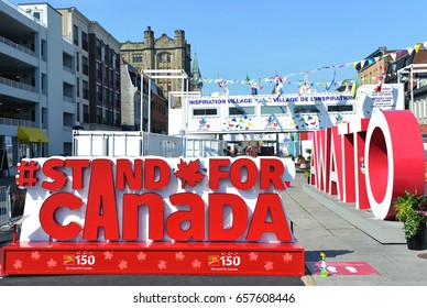 OTTAWA - JUN 11, 2017:  The Stand For Canada sign at Inspiration Village, a temporary attraction built to help celebrate Canada 150th anniversary year in the popular Byward Market area of the Capital.