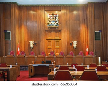 OTTAWA - JUNE 2017:  The Supreme Court of Canada is housed in an art deco building with seats for each of the nine judges as seen in Ottawa circa 2017.