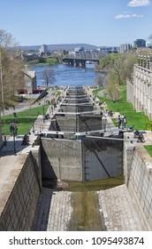 Ottawa locks station, Rideau Canal, Ontario, Canada during a beautiful spring day