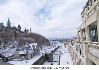 Ottawa locks station, Rideau Canal, Ontario, Canada during a beautiful winter day