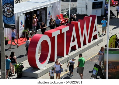 OTTAWA = MAY 28, 2017: The Ottawa sign installed at Inspiration Village, a temporary attraction with special exhibits and performing arts events built to help celebrate Canada's 150th anniversary.
