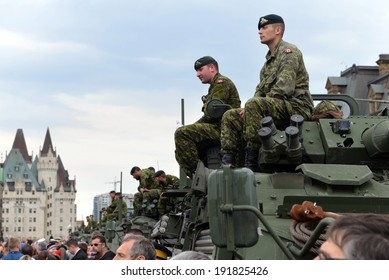 OTTAWA - MAY 9:  Soldiers who served in the Canadian Forces in Afghanistan are honored on Parliament Hill during national Day of Honour May 9, 2014 in Ottawa, Canada
