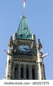 OTTAWA - OCT 31: The Peace Tower (Tour de la Paix), Parliament Hill, Ottawa, Canada on October 31, 2015 The tower's flagpole holds symbolic significance, acting as the flagpole of the nation.