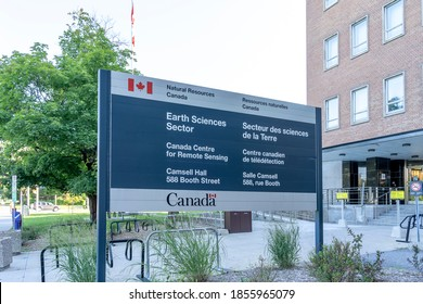 Ottawa, On, Canada - August 7, 2020: A directory sign is seen outside the government of Canada building at 588 Booth Street in Ottawa, Ontario, Canada that houses Natural Resource Canada.