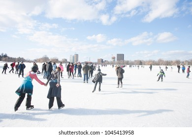 Ottawa, ON / Canada February 17 2018 Ice skating on the Rideau Canal. Last day of season for 2017/2018