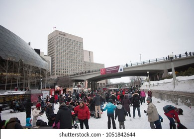 Ottawa, ON / Canada February 17 2018 Ice skating on the Rideau Canal.