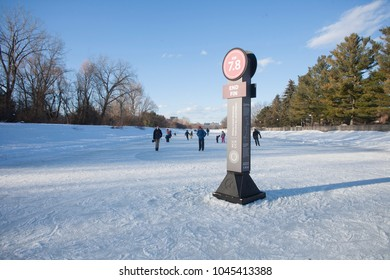 Ottawa, ON / Canada February 18 2018 Ice skating on the Rideau Canal. Last day of season for 2017/2018