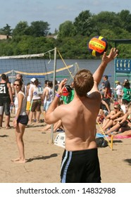 OTTAWA, ON - JULY 12: Volleyball players at HOPE Volleyball Summerfest - the world's biggest beach volleyball tournament July 12, 2008 in Ottawa, Ontario, Canada.