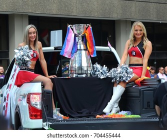 OTTAWA, ONTARIO - AUGUST 27, 2017: The CFL championship Grey Cup won by the Ottawa Redblacks in 2016 was part of the Ottawa Pride Parade.