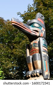 Ottawa, Ontario / Canada - 12 August 2019 - Detail of the Kwakiutl Totem at Confederation Park in Ottawa, Canada. The totem was carved by Henry Hunt in 1971.