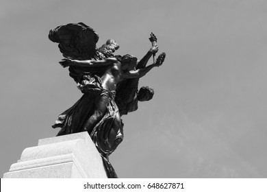 Ottawa, Ontario, Canada, April 2017: National War Memorial, Confederation Square, The surmounting allegorical statues symbolizing Peace and Liberty
