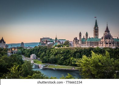 OTTAWA, ONTARIO / CANADA - AUGUST 06 2017: VIEW AT PARLIAMENT HILLS IN THE MORNING