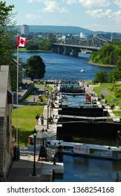 Ottawa, Ontario, Canada - August 1, 2004: The Rideau Canal Locks at the Ottawa River