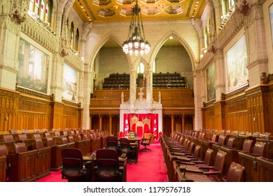 Ottawa, Ontario, Canada - August 20, 2018: The Senate Chamber of Canada's Parliament.