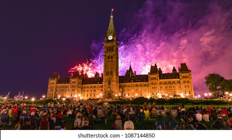 Ottawa, Ontario / Canada - August 2017: Spectacular Fireworks Display at Parliament Hill in Ottawa
