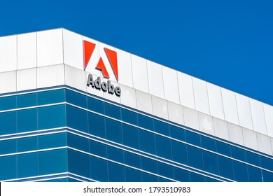 Ottawa, Ontario, Canada - August 7, 2020: Adobe sign on Adobe Systems Canada's office in Ottawa, Ontario on August 7, 2020. Adobe Inc is an American multinational computer software company.