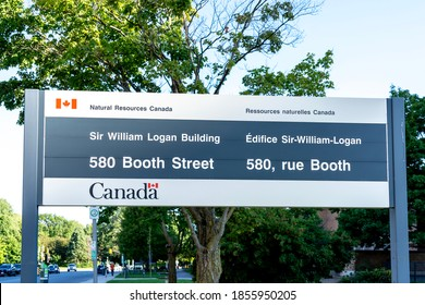 Ottawa, Ontario, Canada - August 7, 2020: A sign is seen outside the building for Sir William Logan Building Natural Resources Canada on Booth Street in Ottawa, Ontario, Canada.