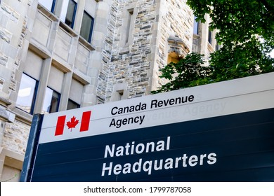 Ottawa, Ontario, Canada - August 8, 2020: Part of Canada Revenue Agency sign is seen at the National Headquarters in Ottawa. Canada Revenue Agency is the revenue service of the Government of Canada.