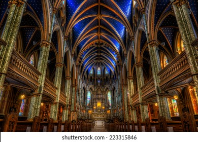 Ottawa, Ontario, Canada - December 10, 2014: Interiors of the Notre Dame Cathedral Basilica