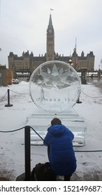 Ottawa Ontario Canada / February 28 2017. A photo I took of a Canada 150  Ottawa 2017 ice sculpture. This is one of the first ice sculptures unveiled in Ottawa on Canada's sesquicentennial year 2017.