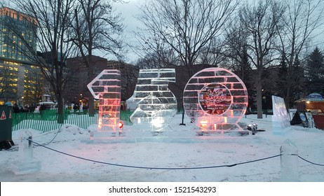 Ottawa Ontario Canada / February 3 2017. A photo of the Canada 150 unveiled ice sculpture on the opening day of Winterlude, February 3 2017. Located in Confederation Park, Ottawa, Ontario, Canada.