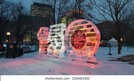 Ottawa Ontario Canada / February 3 2017. A photo I took of the Canada 150 ice sculpture on the opening day of Winterlude February 3 2017. Located in Confederation Park Ottawa, Ontario, Canada.
