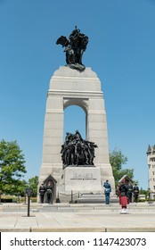 Ottawa, Ontario, Canada - July 12, 2018:  Hourly changing of the sentries ceremony at the Tomb of the Unknown Soldier in front of The National War Memorial, vertical orientation.