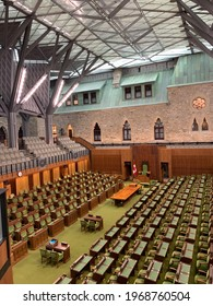 Ottawa, Ontario, Canada - July 13, 2019: The Parliament Hill West Block. The interim House of Commons Chamber. Empty Canadian Parliament.