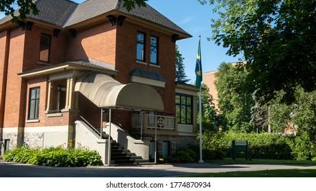 OTTAWA, ONTARIO, CANADA - JULY 7, 2020: The Embassy of Brazil in the Canadian capital city of Ottawa, Ontario.