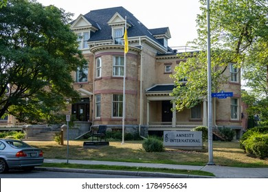 OTTAWA, ONTARIO, CANADA - JULY 7, 2020: The Canadian national office for Amnesty International at 312 Laurier Avenue East in Ottawa.