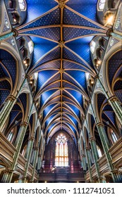 Ottawa, Ontario / Canada - June 16, 2015: Interior of the Notre Dame Cathedral Basilica in Ottawa, Ontario, Canada which is a popular tourist destination.