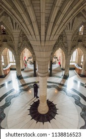 Ottawa, Ontario, Canada - June 28, 2018:  Confederation Hall or  Rotunda in Centre Block building on Parliament Hill, home of Canada's federal government, vertical orientation.
