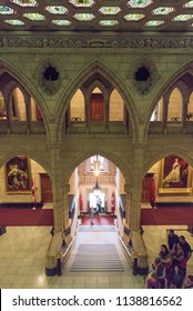 Ottawa, Ontario, Canada - June 28, 2018:  Senate foyer, east side of Centre Block building on Parliament Hill, home of Canada's federal government,vertical orientation.