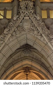 Ottawa, Ontario, Canada - June 28, 2018:  Archway in Confederation Hall or Rotunda depicting Alberta coat of arms in Centre Block building on Parliament Hill, vertical orientation.