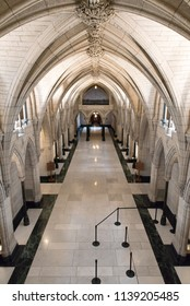 Ottawa, Ontario, Canada - June 28, 2018:  Hall of Honour in Centre Block building on Parliament Hill, home of Canada's federal government, vertical orientation.