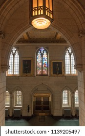 Ottawa, Ontario, Canada - June 28, 2018:  Entrance to House of Commons foyer, west side of Centre Block building on Parliament Hill, home of Canada's federal government, vertical orientation.