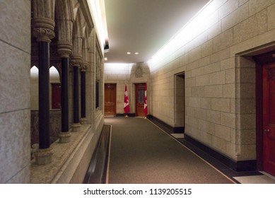 Ottawa, Ontario, Canada - June 28, 2018:  Prime Minister's office near House of Commons, west side of Centre Block building on Parliament Hill, home of Canada's federal government.