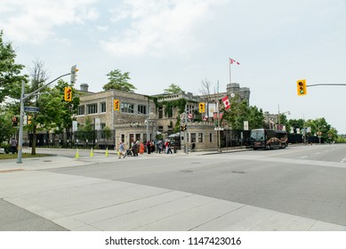 Ottawa, Ontario, Canada - June 30, 2018:  Looking across Sussex Drive toward  Royal Canadian Mint building in summer, home of specialty gold and silver coin production.