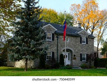 OTTAWA, ONTARIO, CANADA - NOVEMBER 4, 2017: The embassy of the Republic of Venezuela in autumn colors