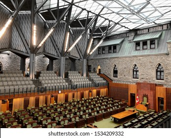 Ottawa, Ontario, Canada. October 13 2019: An Empty House of Commons Chamber Before the 2019 Canadian Federal Election.
