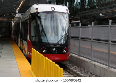 Ottawa Ontario Canada September 14/2019 Light Rail Transit LRT OC Transpo, passengers, tickets, transportation, train terminal, bus ride, opening day,